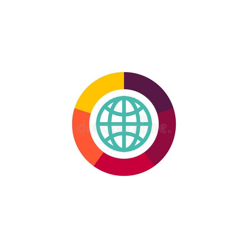 logo piano di vettore dell'icona di web globo con l'illustrazione dell'icona della macchina fotografica dell'otturatore illustrazione vettoriale