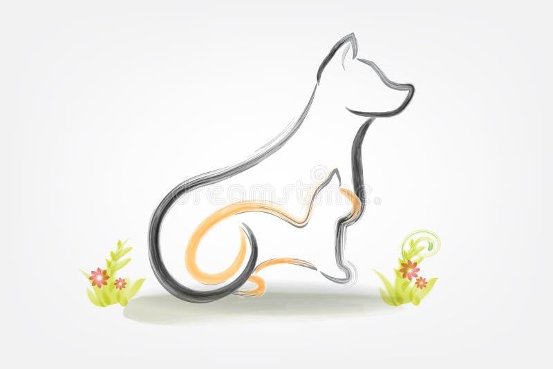 Logo pies i kot akwarela royalty ilustracja