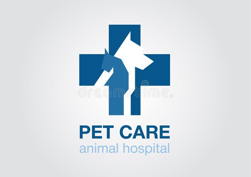 Logo plat croisé vétérinaire Icône animale symbole avec le chat de chien Couleur bleue illustration libre de droits