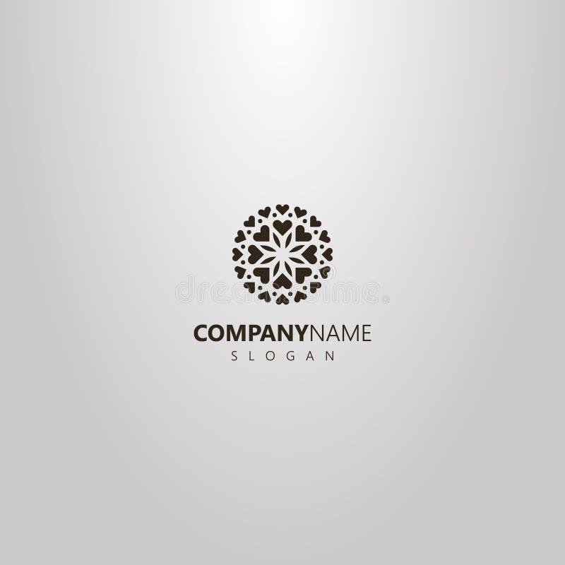 Logo plat d'art de vecteur simple d'une fleur ronde des coeurs et des pétales illustration libre de droits