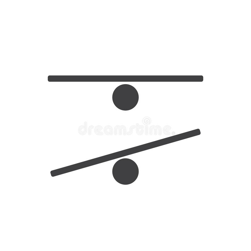 Logo plat d'icône de silhouette de noir de vecteur de panneau d'équilibre illustration stock