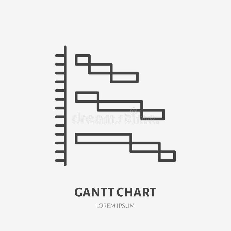 Logo plat de diagramme GATT, icône de gestion des projets Illustration de vecteur de visualisation de données Signe pour des affa illustration stock