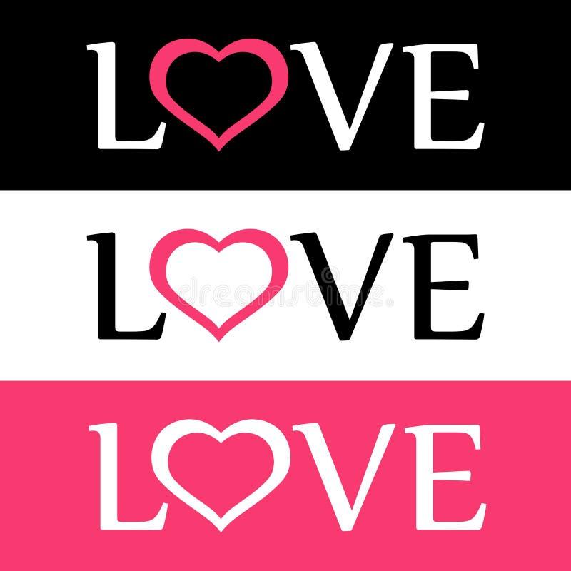 Logo plat de style de l'amour avec le signe de coeur illustration stock