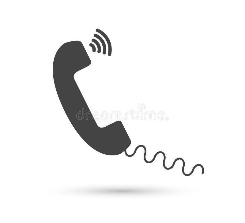 Logo plat de style de vecteur d'icône de vecteur de téléphone Combiné avec l'illustration d'ombre Édition facile de l'illustratio illustration de vecteur