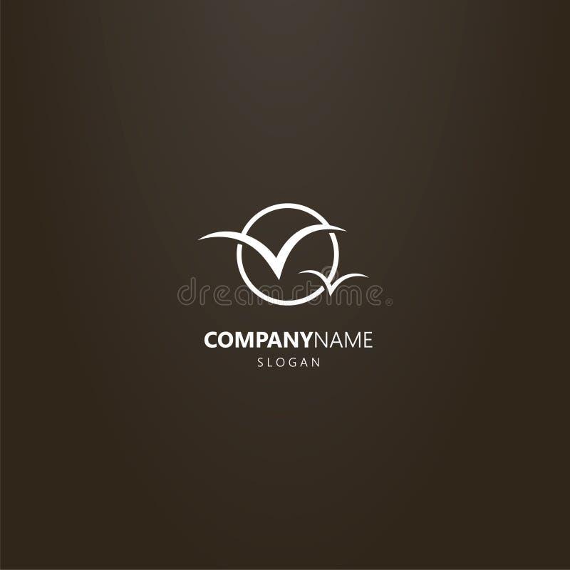 Logo plat de vecteur d'art de deux mouettes dans un cadre rond illustration stock