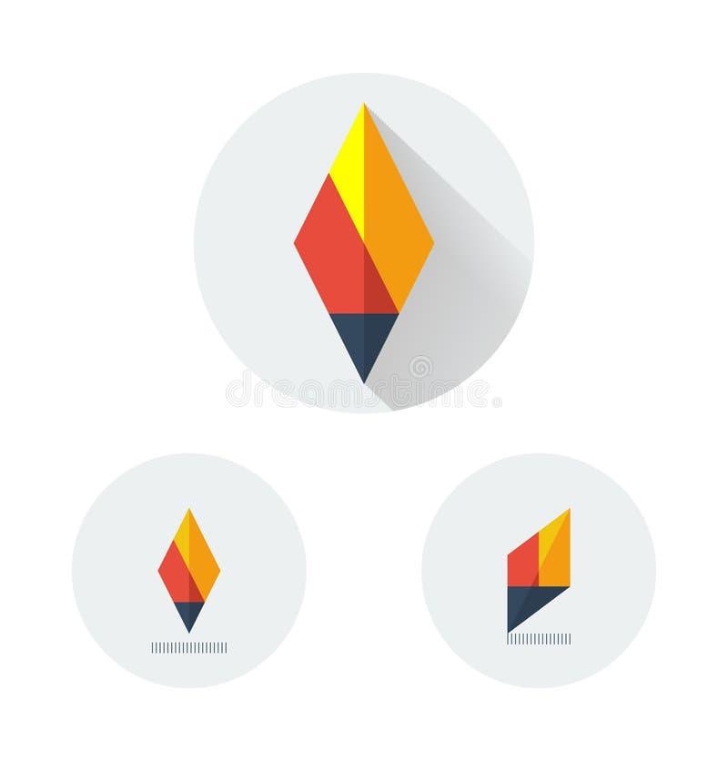 Logo plat de vecteur pour la torche du feu illustration de vecteur