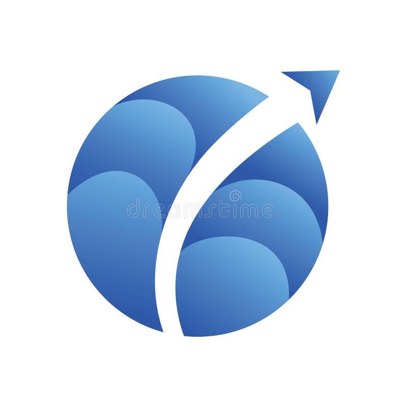 Logo plat du monde de flèche d'air de ciel illustration de vecteur