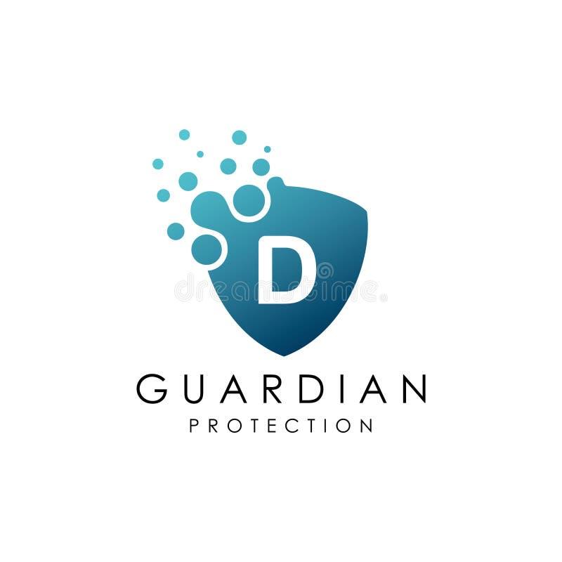 Logo pointillé de la lettre D de bouclier illustration de vecteur