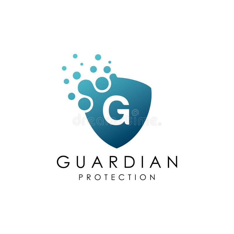 Logo pointillé de la lettre G de bouclier illustration de vecteur
