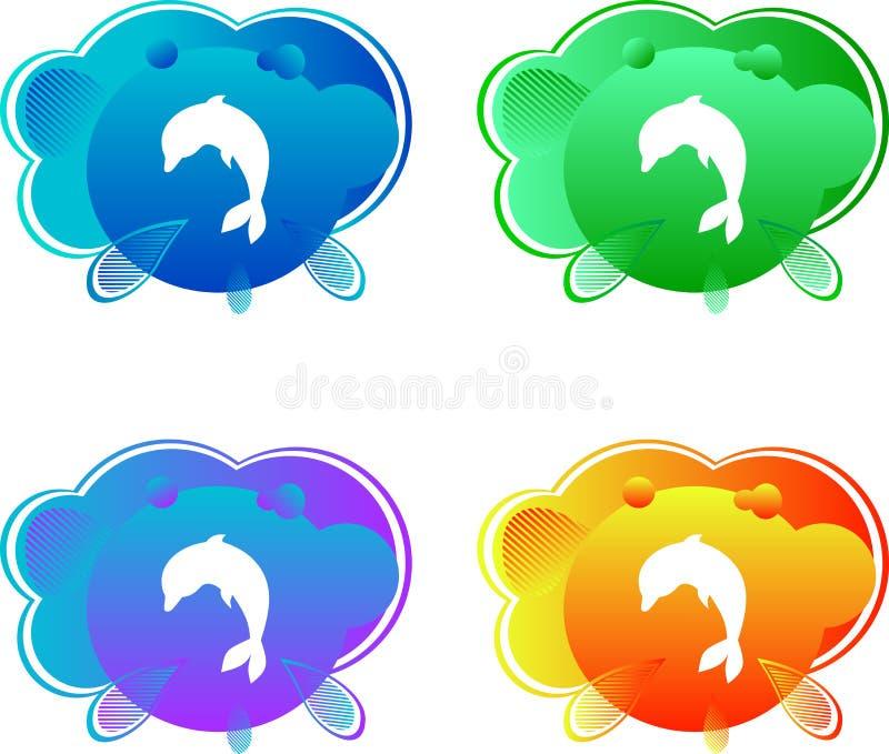 Logo pojęcia ikona, delfin na koloru tle, wektorowy emblemat, jaskrawy dennego zwierzęcia projekt, reklamowa ilustracja, dzieciak ilustracji