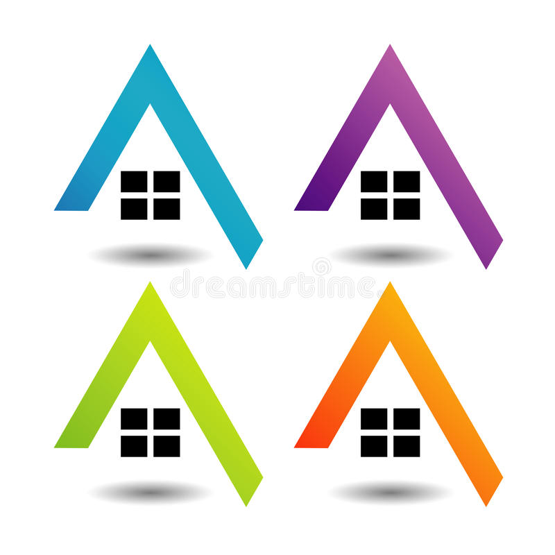 Logo pokazuje narastającego rynek nieruchomości ilustracja wektor