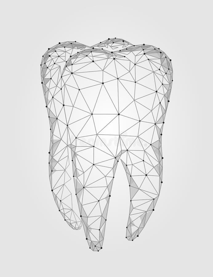 logo polygonal de structure de dent du modèle 3d Affaires orales de soins médicaux de bas poly abrégé sur triangle de symbole de  illustration libre de droits