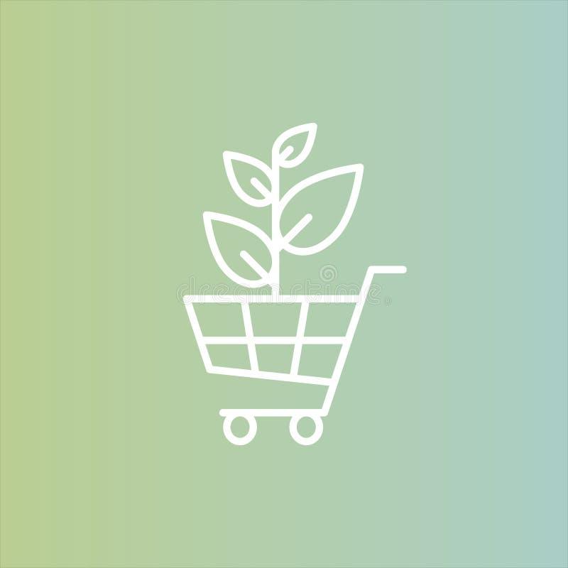 Logo pour la boutique saine ou le magasin de Vegan organique Usine naturelle verte d'arbre avec le symbole de feuilles illustration libre de droits