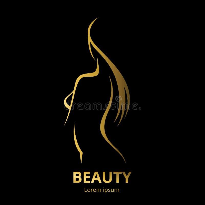 Logo pour la femme aux cheveux longs stylisée de salon de beauté illustration de vecteur