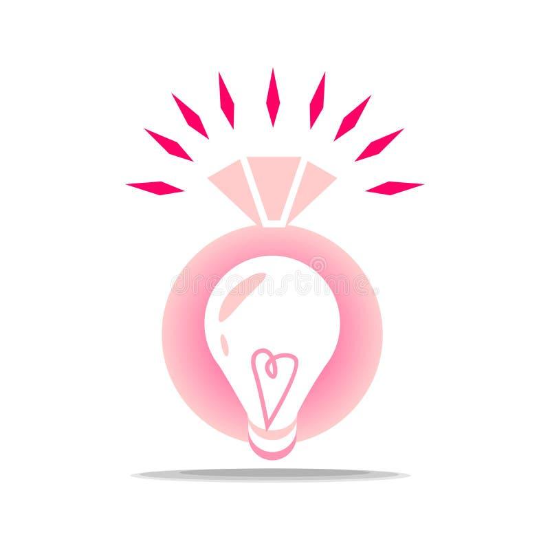 Logo pour la partie d'engagement Sonnez avec un diamant pour la jeune mariée et l'idée de la façon organiser un mariage photographie stock