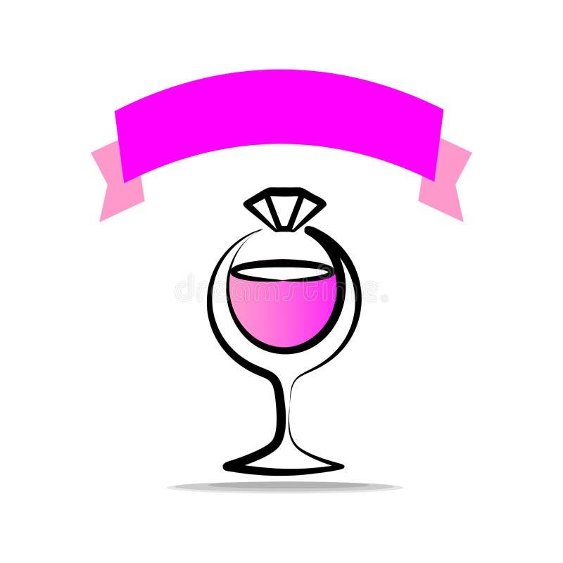 Logo pour la partie d'engagement Un verre de champagne et d'un anneau avec un diamant Logo fascinant avec le ruban photo libre de droits