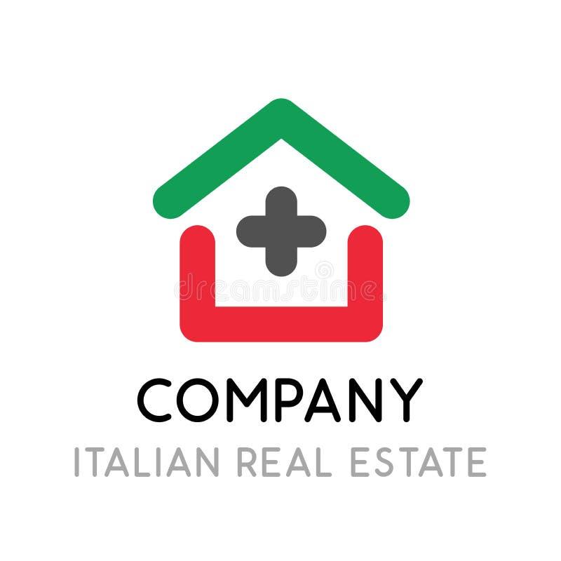 Logo pour la société d'investissement immobilier en Italie - illustration créative d'emblème avec la maison dans style de schéma illustration de vecteur