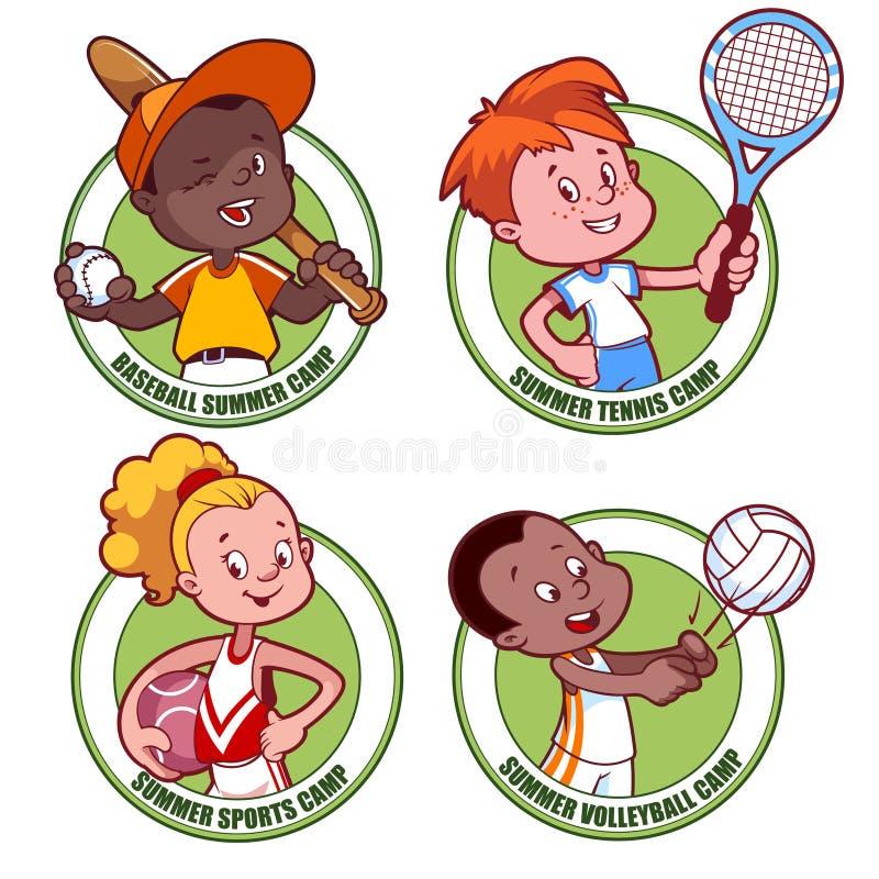 Logo pour le camp de sports d'enfants illustration stock
