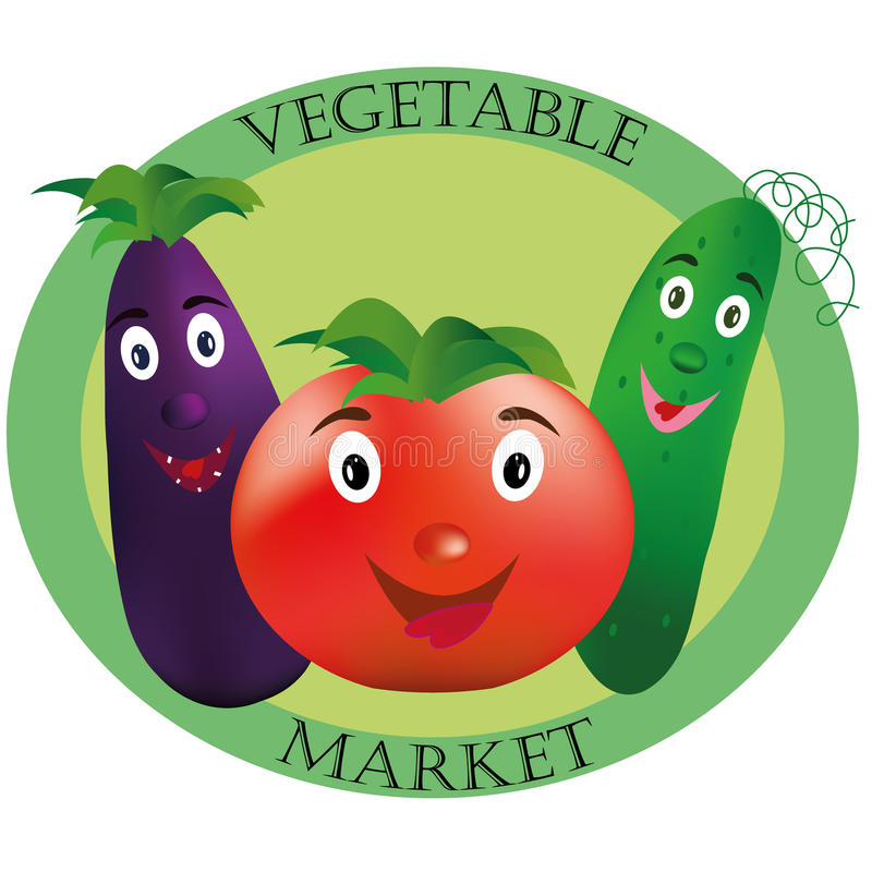 Logo pour le marché végétal Tomate, concombre et aubergine sur le fond vert image libre de droits