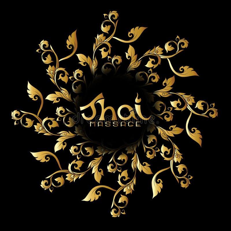 Logo pour le massage thaïlandais avec l'ornement thaïlandais traditionnel, EL de modèle illustration stock