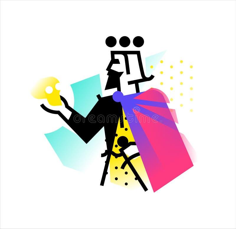 Logo pour le studio théâtral Illustration d'un Hamlet avec un crâne Le héros des travaux de Shakespeare Logo plat de vecteur E illustration stock