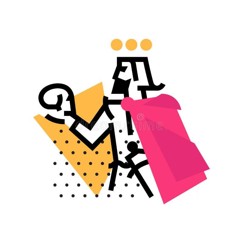 Logo pour le studio théâtral Illustration d'un Hamlet avec un crâne Le héros des travaux de Shakespeare Logo plat de vecteur Les  illustration stock