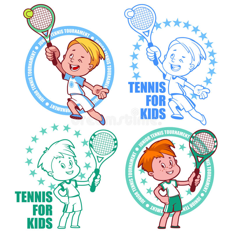 Logo pour le tournoi de tennis junior Badine le tennis Illus de vecteur illustration de vecteur