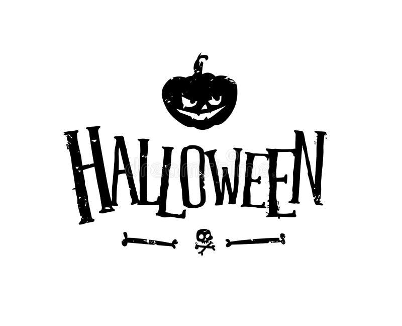 Logo pour les vacances de Halloween Vecteur Potiron et crâne oranges D'isolement sur le blanc Police inégale Illustration effraya illustration stock