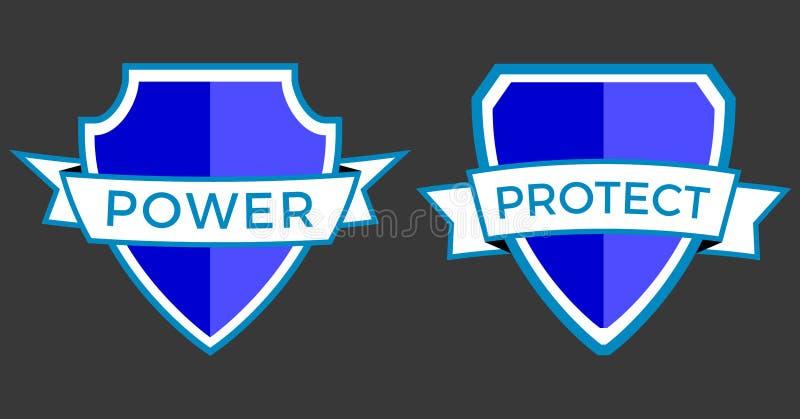 Logo Power protegge immagine stock libera da diritti