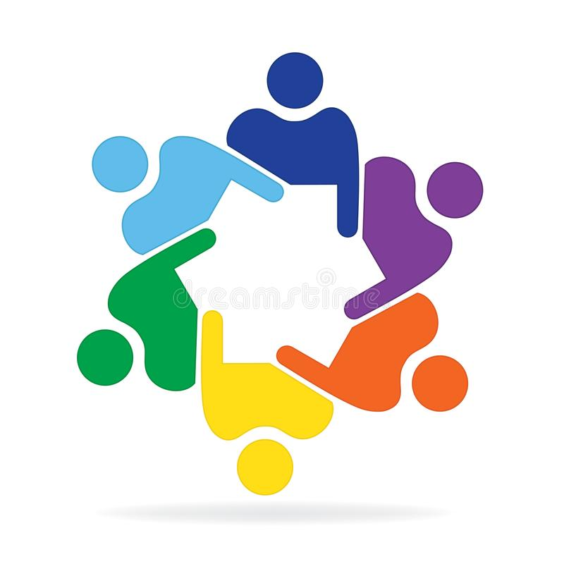 Logo pracy zespołowej biznesowego spotkania kolorowego projekta ludzie ilustracji