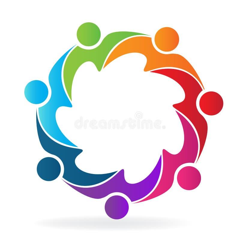 Logo pracy zespołowej biznesowego spotkania projekta ikony kreatywnie szablonu ludzie ilustracji