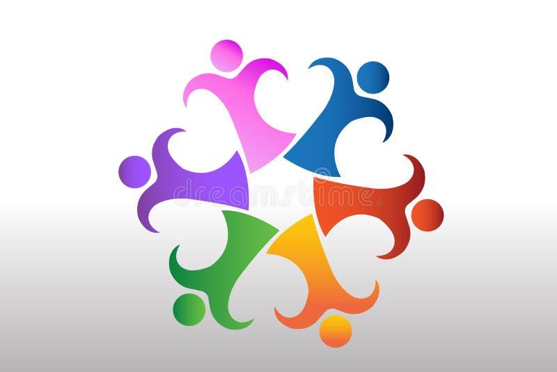 Logo pracy zespołowej jedności biznesowej miłości kierowy kształt ilustracji