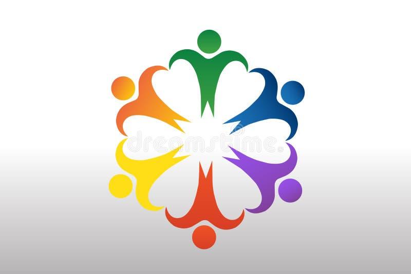 Logo pracy zespołowej jedności miłości jedności biznesowej miłości kierowy kształt royalty ilustracja