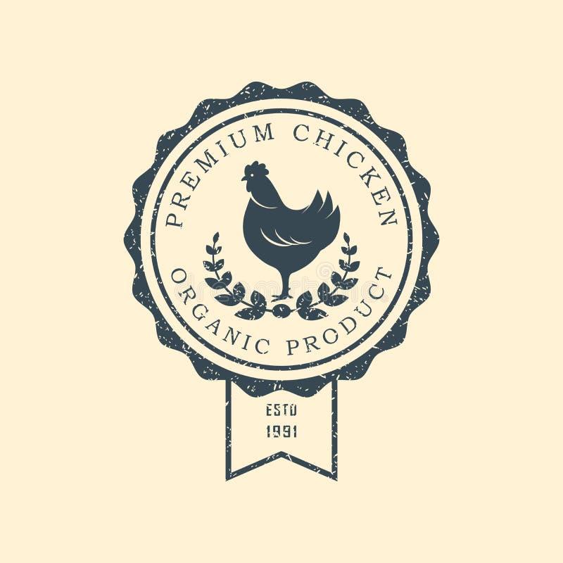Logo premio del pollo Etichette, distintivi ed elementi di progettazione Retro stile Illustrazione di vettore royalty illustrazione gratis