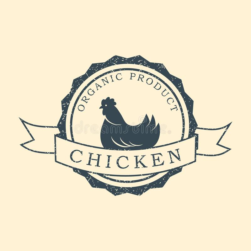 Logo premio del pollo Etichette, distintivi ed elementi di progettazione Retro stile Illustrazione di vettore illustrazione di stock