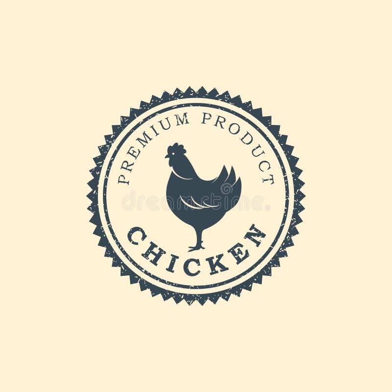 Logo premio del pollo Etichette, distintivi ed elementi di progettazione Retro stile Illustrazione di vettore illustrazione vettoriale