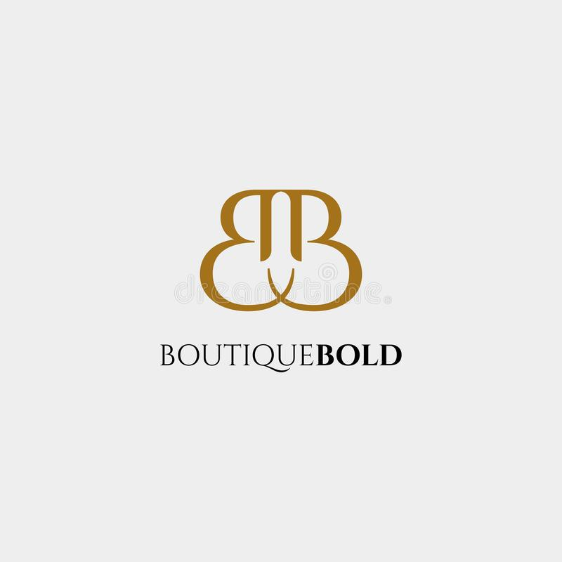 Logo premio di vettore B nel colore dell'oro Bella progettazione del Logotype per marcare a caldo di lusso di modo della società illustrazione vettoriale