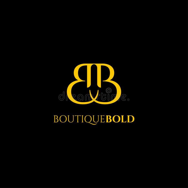 Logo premio di vettore B nel colore dell'oro Bella progettazione del Logotype per marcare a caldo di lusso di modo della società illustrazione di stock