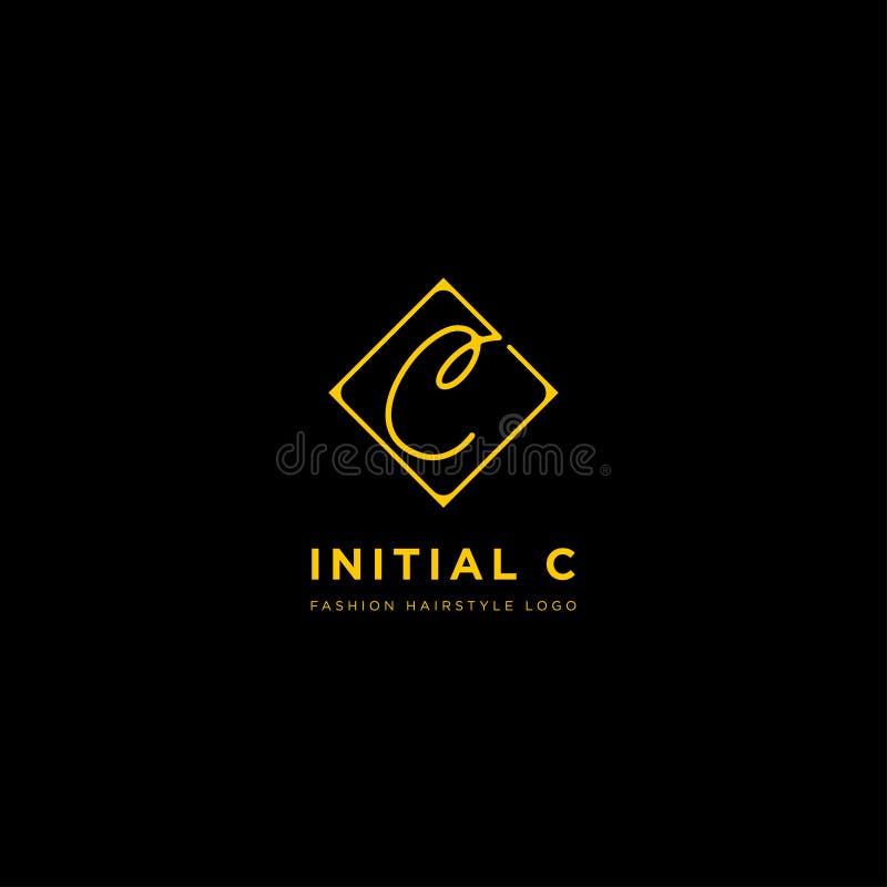 Logo premio di vettore C nel colore dell'oro Bella progettazione del Logotype per marcare a caldo di lusso di modo della società royalty illustrazione gratis
