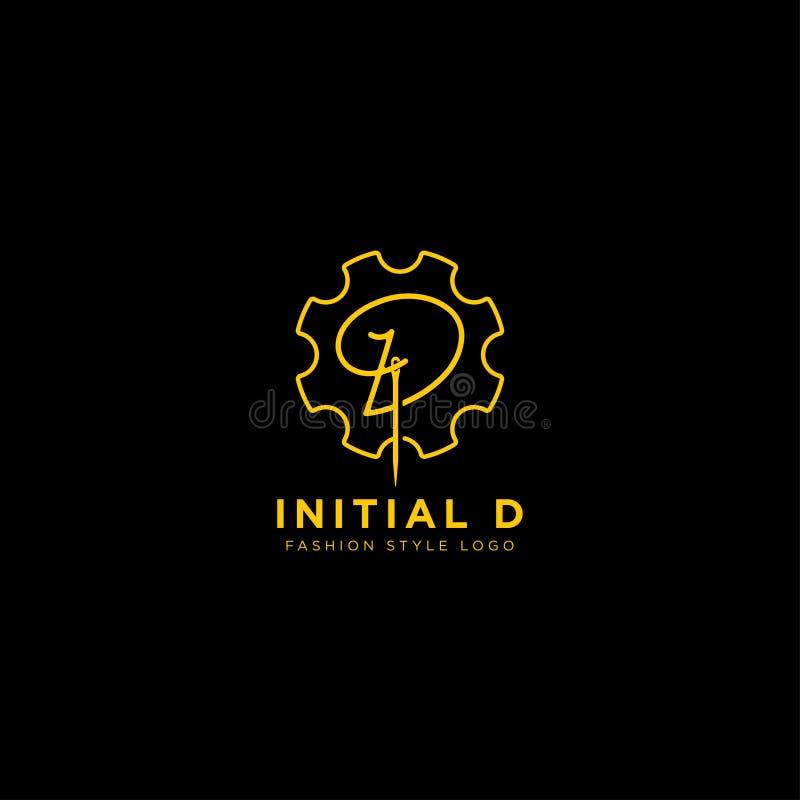 Logo premio di vettore D nel colore dell'oro Bella progettazione del Logotype per marcare a caldo di lusso di modo della società illustrazione vettoriale