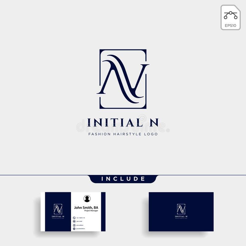 Logo premio di vettore N nel colore dell'oro Bella progettazione del Logotype per marcare a caldo di lusso di modo della società illustrazione vettoriale