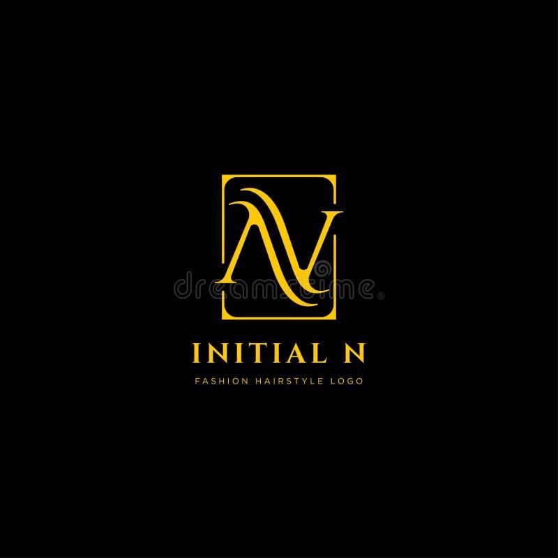 Logo premio di vettore N nel colore dell'oro Bella progettazione del Logotype per marcare a caldo di lusso di modo della società royalty illustrazione gratis