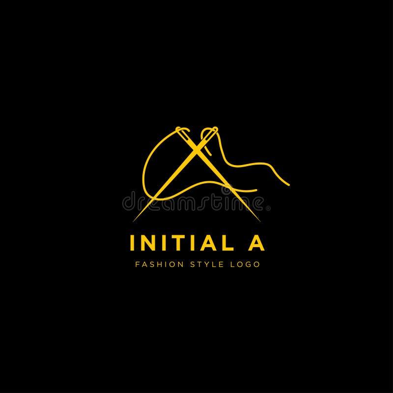Logo premio di vettore A nel colore dell'oro Bella progettazione del Logotype per marcare a caldo di lusso di modo della società illustrazione di stock