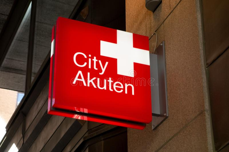 The logo of the prestigious City Akuten private clinic in Stockholm, Sweden which performs various physical examinations and stock images