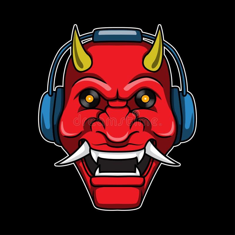 Logo principal de démon d'écouteur illustration libre de droits