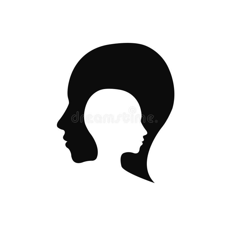 Logo principal moderne de société Humain de profil Type créateur Logotype dans le vecteur Concept de construction Icône de marque illustration libre de droits