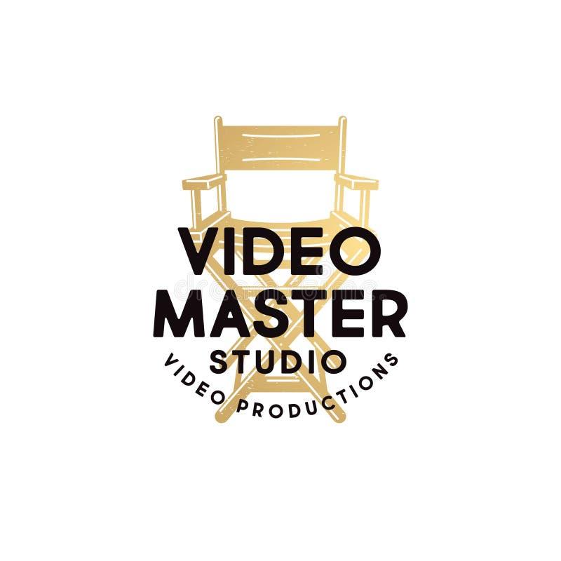 Logo principal visuel Emblème visuel de studio de production Lettres et fauteuil de directeur illustration stock