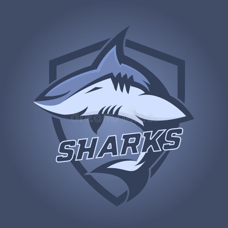Logo professionale moderno per lo sport di squadra Mascotte dello squalo Squali, simbolo di vettore su un fondo scuro royalty illustrazione gratis