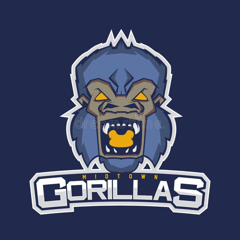 Logo professionnel moderne pour l'équipe de sport Mascotte de gorille Gorilles, symbole de vecteur sur un fond rouge illustration stock