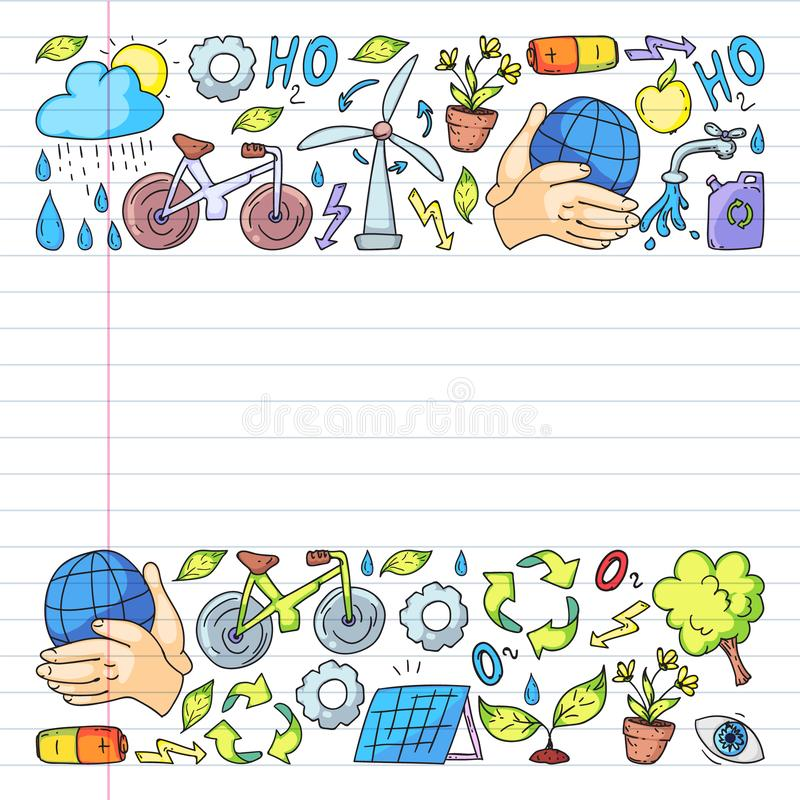 Logo, progettazione e distintivo di vettore nello stile di disegno d'avanguardia - zero concetti dello spreco, ricicli e riutiliz immagini stock